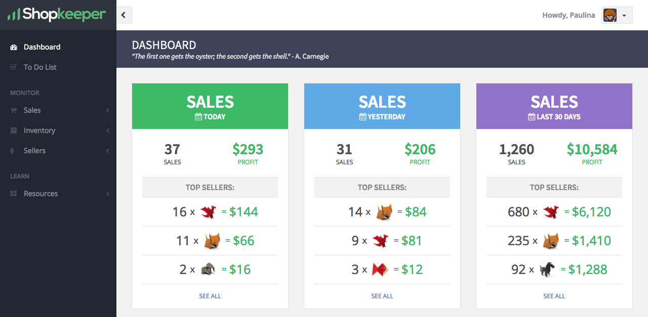 Dashboard Sales Widgets