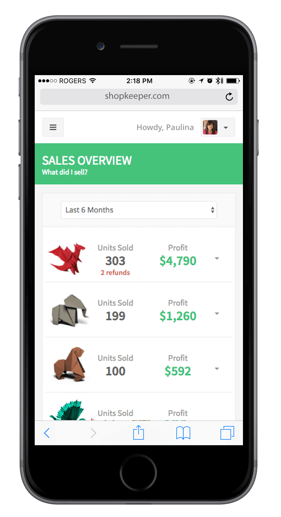 Sales Overview on Mobile